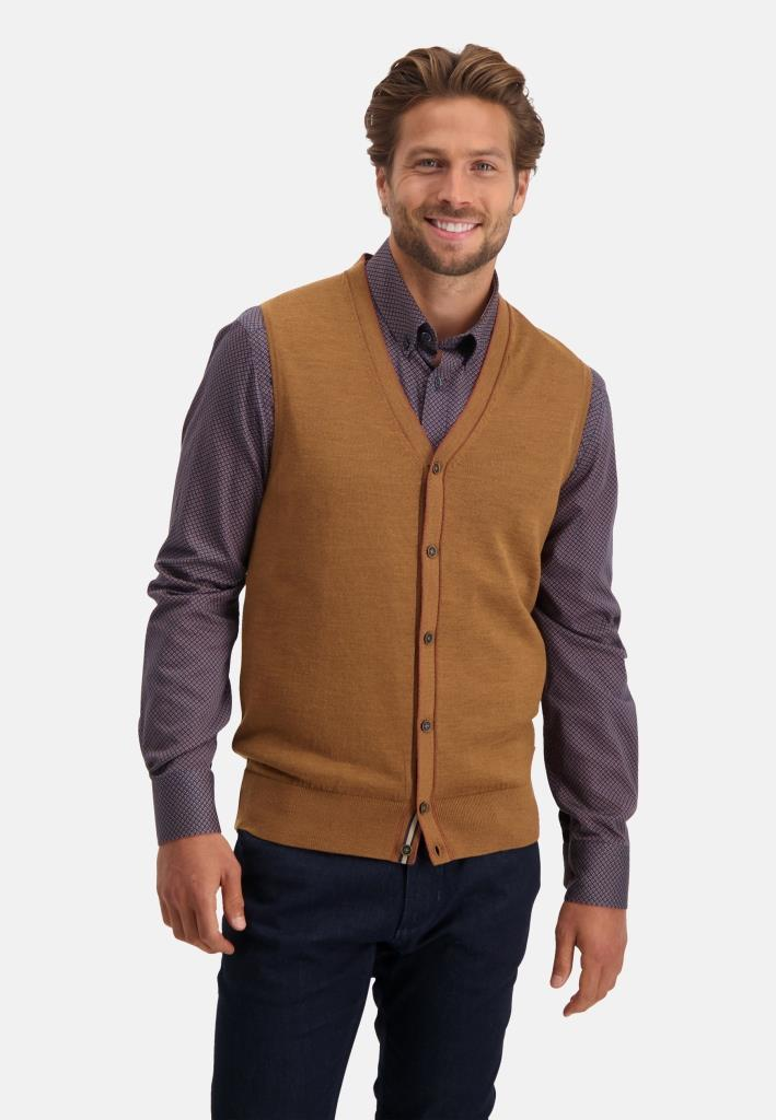 202 STATE OF ART M GILE 8329-Knitted Gilet Plain